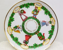 Vintage SEARS ROEBUCK 1981 Christmas Around World First Edition Collector Hanger Porcelain Plate Doll Native Dress