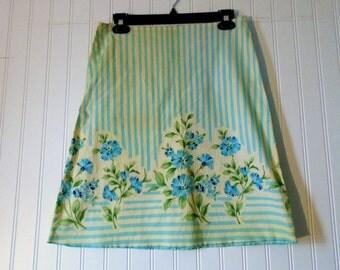 Vintage Skirt Size 7 Blue Floral Skirt Women's Fashion