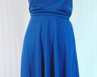 Vintage Blue Short Dress Vintage Dress Women's Fashion B 36''