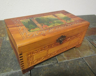 vintage CARVED WOOD BOX with Mirror, Jewelry chest, trinket box ; Cedar box