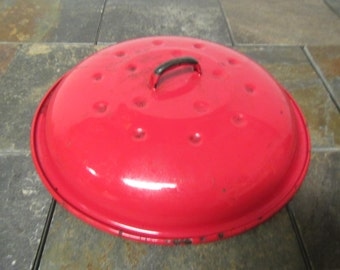 vintage Heavy duty 11 1/2 inch RED ENAMEL POT or Pan Cover,* Metal cover weighs over 2 pounds