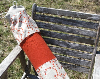 Large yoga mat bag, long pilates tote, orange, geometrical print, for men, for women, upcycled