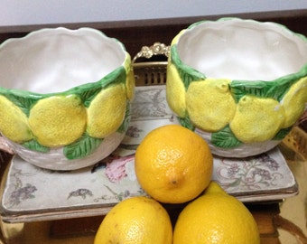 Fitz and Floyd Large Basketweave Lemon Mugs Cups