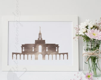LDS Temple art - Customizable - Bountiful Temple - Printable
