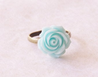 50% OFF Blue Flower Ring * Blue Rose Ring * Antiqued Brass Flower Ring Bridesmaid Gift * Something Blue Jewelry * Flower Girl Gift
