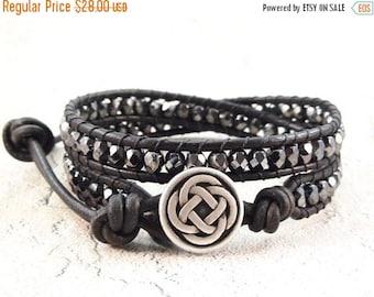 On Sale Leather Wrap Bracelet, Celtic Knot Bracelet, Black Beaded Jewelry, Leather Jewelry