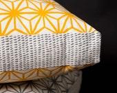 Star Pattern Yellow 40cm x 40cm box cushion - Hand screen printed