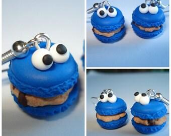Earrings macaroons Cookie monster