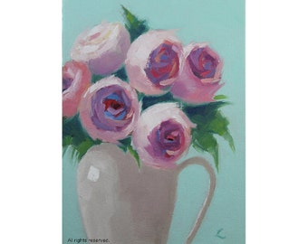 "Oil Painting ''Flowers"" Still Live Painting, Fine Art Oil on Canvas, Small Painting Home Decor 13x18cm"