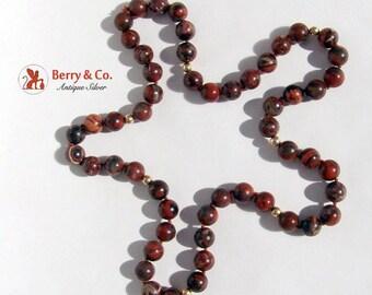 SaLe! sALe! Vintage Brown Agateand 14 K Gold Bead Necklace