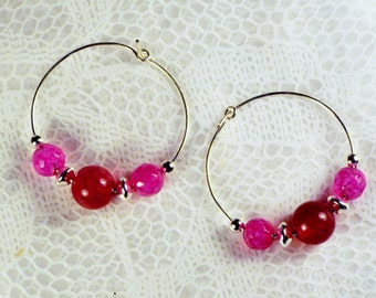 """Cynthia Lynn """"EXTREMELY PINK"""" Pink Tourmaline October Birthstone Small Silver Hoop Earrings"""