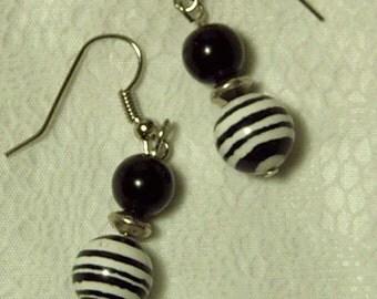 "Cynthia Lynn ""KENYA"" Black and White Zebra Animal Print Beaded Silver Earrings"