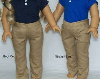 "School Uniform fits Popular 18"" dolls - Polo and Khaki or Navy Twill Pants Set"
