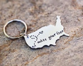Long Distance Relationship Keychain USA with Custom Personalized Message