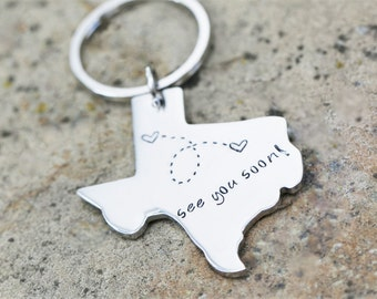 State Keychain USA Keychain Texas Keychain Best Friends Long Distance Relationship Gift Personalized Message