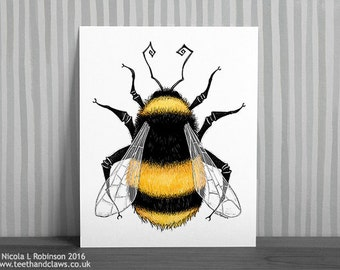 Bumble Bee Print, Bumble Bee Art, Bee Illustration, Summer Print, Bumble Bee Drawing, Bees, Honey Bee Wall Art, Nature Print, Insect Art,