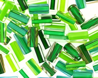 Furnace Glass Beads, Green mix small-medium size  by Virginia Wilson Toccalino, 1 oz