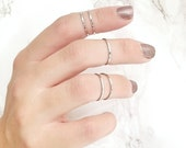 Silver Midi Rings - Stacking Rings - Midi Ring - Silver Ring - Plain Band Rings - Above The Knuckle Rings - Ring Set Of 5 - RS11-S