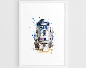R2D2 Star Wars Movie Poster (R2D2 Art Poster, Star Wars Art, Star Wars Poster) -A3 Wall Art Print Poster of the Original Watercolor Painting