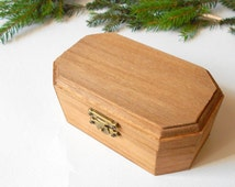 Wooden mordant box- small six side box- unfinished wooden box with bronze colored hinges- bamboo wood box- wooden supplies- craft box