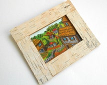 Picture frame- birch bark custom picture frame in 20 measures- natural wood rustic frame with stand holder or wall hanger