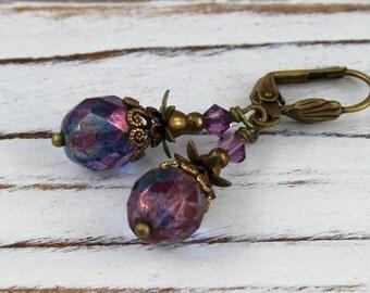 Pineapple in Purple Rainbow - vintage style antique brass earrings