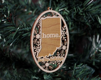 Engraved Indiana Wood Christmas Ornament