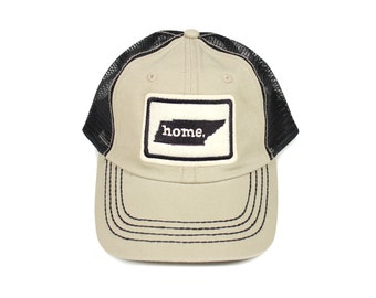 All 50 States Available: Home State Apparel Trucker Cap - Khaki w/Black Stitching