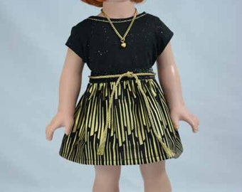 American Girl or 18 Inch Doll SKIRT Dress in Black and Metallic Gold with Black Gold Sparkle TEE Shirt Top Necklace  and SHOES Option