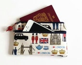 Double Zip Pouch - Passport Travel Purse - Mobile Phone Wallet - I Love London Fabric