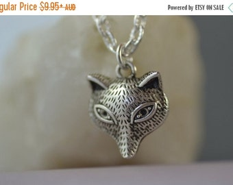SALE Fox Necklace, Wolf, Forest Creature, woodland, Art Deco style