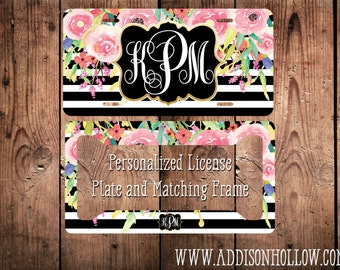 Monogram Car License Plate Tag and Frame Black White Stripes Watercolor Flower Personalized Vanity Gift for her