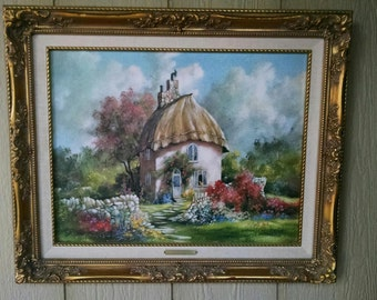 "Vintage Limited Edition Artist Signed Marty Bell Lithograph Print entitled ""Crossroads Cottage"""