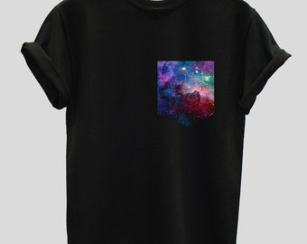 Cosmic Space Galaxy Print Pocket Unisex T-shirt Shirt Top Tee Hipster Indie Swag Dope Hype Black White Mens Womens Cute Alien Pocket Shirt