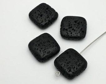 4 black lava puff square bead,25mm #PP 109