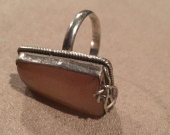 Orange Moonstone Size 9 Sterling Silver
