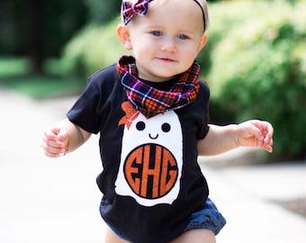 Girls Halloween Shirt, Halloween Shirt, Girl Ghost Shirt, Monogram Halloween Tee, Girl Ghost Shirt, Girl Halloween Outfit, Monogram