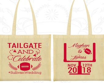 Tailgate and Celebrate, Imprinted Cotton Canvas Tote, Football Wedding Bags, Tailgate Bags, Bags and Totes (394)