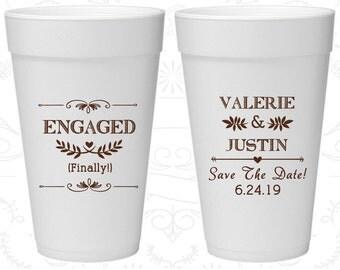 Engagement Wedding, Custom Foam Drinking Cups, Save the Date Wedding, Rehearsal Dinner, Styrofoam Cups (482)