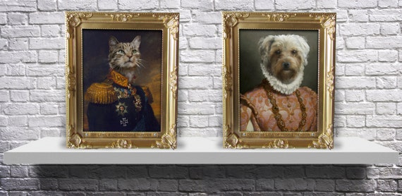 CUSTOM framed regal royal family pet portrait old fashioned painting military Print from photo - Choose your pet, Gender, Size and Frame