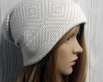 Neutrals Knit Slouchy Beanie, White and Tan, Minimalist hat, Womens toque, Diamond geometric hat