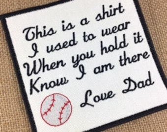 SEW or IRON-ON  Baseball Memory Pillow Patch - 2 Sizes - This is a shirt I used to wear, Shirt Pillow Patches, Memory Patches