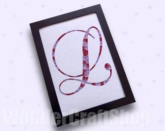letter l, letter wall art, quilled monogram, nursery letter, nursery decor, mother's gift, christmas gift, paper decor, custom letter
