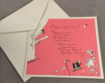 1920s Buzza Graduation , Congratulations Card, with Original Envelope, Great Graphics