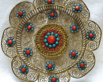 Beautiful Golden Flower Shaped Bowl w. Ornate Red & Blue Embellishments- ANTIQUE