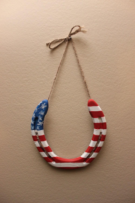 American flag horseshoe decor for Horse shoe decorations