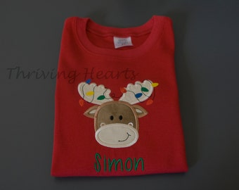 Personalized Christmas shirt for kids. Moose with Christmas lights in antlers.