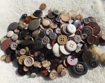 Brown/Beige/Yellow/Earth Tones...Button Assortment-assemblage, altered art, mixed media, craft project