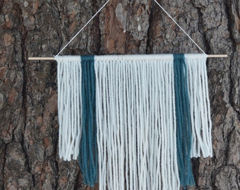 Modern Wall Tapestry   Textile Wall Hanging   Small Yarn Tapestry   Bohemian Decor   Nursery Wall Decor   Blue and White Fiber Art