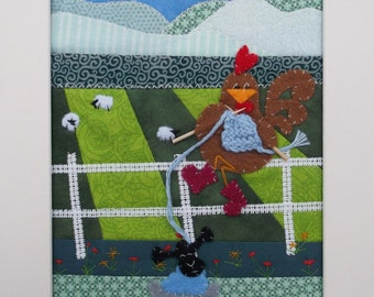 Collage *Chicken Knitting*  Fun Quirky Fabric Art.  Patchwork and Appliqué Picture Mounted ready for framing. Textile Picture Art